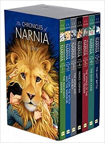 Image of the cover of the famous series, The Chronicles of Narnia, recommended for teens on vacation and while camping.