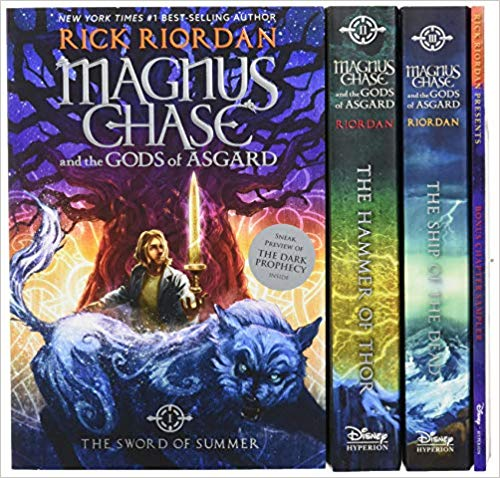 Image of the cover of the book series Magnus Chase and the Gods of Asgard, recommended for teens on vacation and while camping.