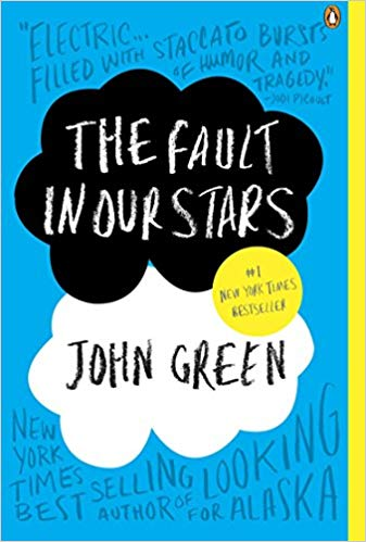 Image of the cover of the book, The Fault In Our Stars, recommended for teens on vacation and while camping.