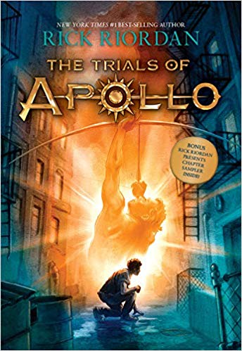 Image of the cover of the book and series, The Trials of Apollo, recommended for teens on vacation and while camping.